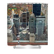 Looking Down At New York Central Park Surounded By Buildings Shower Curtain