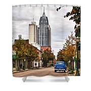 Looking Down Dauphin Street And The Blue Truck Shower Curtain