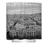 Looking Down On Barcelona From The Sagrada Familia Black And White Shower Curtain