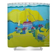 Looking Down On Monhegan And Manana Islands Shower Curtain