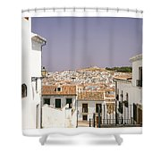Looking Down Over Antequera  From Near The Church Of Santa Maria La Mayor  Shower Curtain