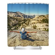 Looking Half Dome Shower Curtain