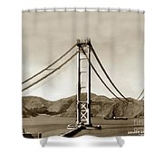 Looking North At The Golden Gate Bridge Under Construction With No Deck Yet 1936 Shower Curtain