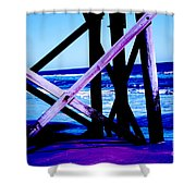 Looking On - Blue Shower Curtain