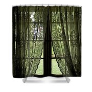 Looking Out The Window Of A Log Cabin Shower Curtain