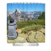 Looking Panorama At Glacier Point Shower Curtain