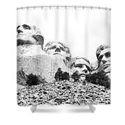 Looking Up At Mount Rushmore National Monument South Dakota Black And White Shower Curtain