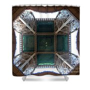 Looking Up Eiffel Tower Shower Curtain
