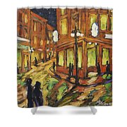 Looking Up Main Street Shower Curtain