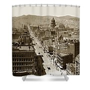 Looking Up Market Street From The Call Building With City Hall Circa 1900 Shower Curtain