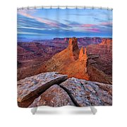 Lookout Point Sunrise Shower Curtain