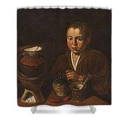 Lopez Caro, Francisco 1598, 1661 Kitchen Boy Ca. 1620 Shower Curtain