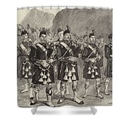 Lord Archibald Campbell And His Pipers Marching Through The Pass Of Glencoe Shower Curtain