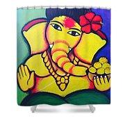 Lord Ganesh By  Sarada Tewari Acrylic Paint On Canvas 24x28inch Shower Curtain