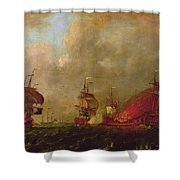 Lord Howe And The Comte Destaing Off Rhode Island Shower Curtain by Robert Wilkins