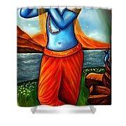 Lord Krishna- Hindu Deity Shower Curtain