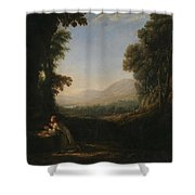 Lorena, Claudio De Chamagne, 1600 - Roma, 1682 Landscape With Saint Mary Of Cervello Ca. 1637. Shower Curtain