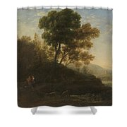 Lorena, Claudio De Chamagne, 1600 - Roma, 1682 Setting Out With The Herd 1636 - 1637 Shower Curtain