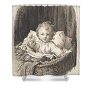 Lorenz Frolich Danish, Copenhagen 1820-1908 Hellerup, Child In A Crib Shower Curtain