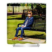 Lorna On A Bench Shower Curtain