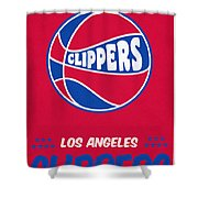 Los Angeles Clippers Vintage Basketball Art Shower Curtain