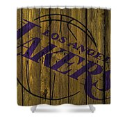 Los Angeles Lakers Wood Fence Shower Curtain