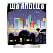 Los Angeles Poster - Retro Travel  Shower Curtain by Jim Zahniser