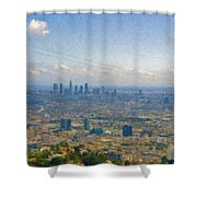 Los Angeles Skyline Between Power Lines Shower Curtain