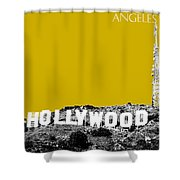 Los Angeles Skyline Hollywood - Gold Shower Curtain