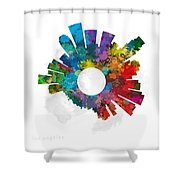 Los Angeles Small World Cityscape Skyline Abstract Shower Curtain