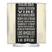 Los Angeles Vintage Places Poster Shower Curtain
