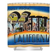 Los Angeles Vintage Travel Postcard Restored Shower Curtain