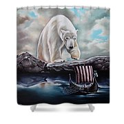 Lost In The World Of Giants Shower Curtain