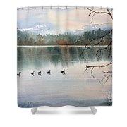 Lost Lagoon Evening Shower Curtain