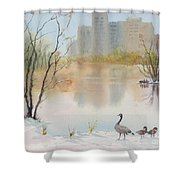 Lost Lagoon In Snow Shower Curtain