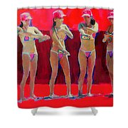 Lotion In Red Shower Curtain