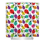 Lots Of Crayon Colored Ladybugs Shower Curtain