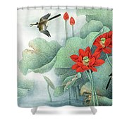 Lotus And Kingfisher Shower Curtain