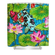 Lotus  Flower  And  Koi Fish Shower Curtain