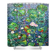 Lotus Flower Water Lily Lily Pads Painting Shower Curtain