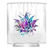 Lotus Flower Watercolor Print Shower Curtain
