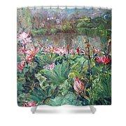 Lotus Pond-3 Shower Curtain
