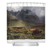 Louis Bosworth Hurt 1856-1929 Highland Cattle In A Glen Shower Curtain
