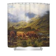 Louis Bosworth Hurt British 1856 - 1929 Highland Cattle Shower Curtain