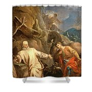 Louis Galloche - Saint Martin Sharing His Coat With A Beggar Shower Curtain