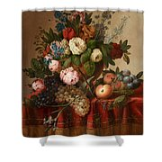 Louis Vidal, Still Life With Flowers And Fruit Shower Curtain