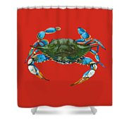 Louisiana Blue On Red Shower Curtain by Dianne Parks