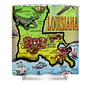 Louisiana Cartoon Map Shower Curtain