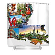 Louisiana Map - New Orleans Shower Curtain