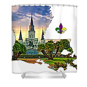 Louisiana Map - St Louis Cathedral Shower Curtain